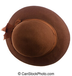 Brown vintage hat on white background