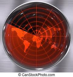 World Radar Screen - The world on a radar screen - blips can...