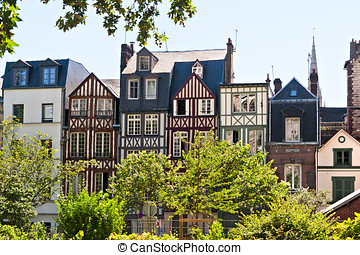 A ROw of Half Timbered Houses in Rouen, Normandy, France