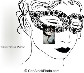 woman in mask - vector background with woman in mask