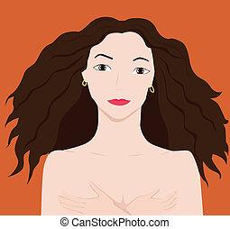 nake girl - vector cartoon illustration of a nake girl