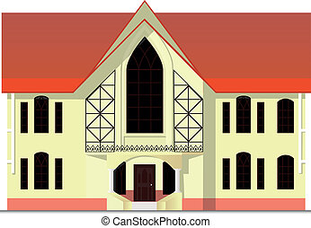 house in the Gothic style - vector illustration with house...