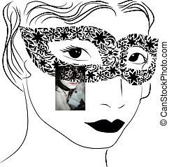 woman in mask - vector illustration with woman in mask