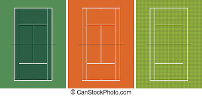 Tennis Court - Layered vector illustration of three...