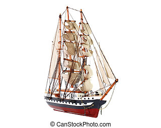 Model of sailing frigate. Isolated. - Model of sailing...