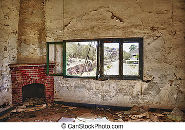 Old fireplace - Fireplace in an abandoned and decayed mine...