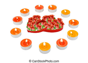 Two hearts, surrounded small candles. - Two hearts,...
