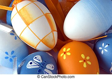 close-up of a bunch of easter eggs