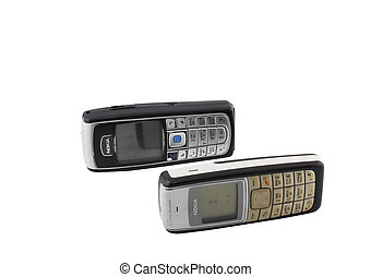 Antiques, old cellular(mobile) phones. Isolated on white.
