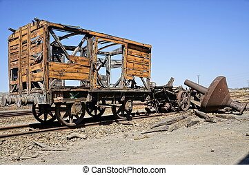 Old train of Spain. - Abandoned facilities freight cars. Old...