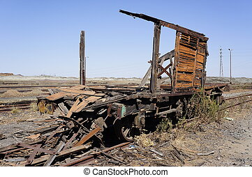 Historic wagon - Abandoned facilities freight cars Old...