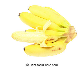 Bunch of mini-bananas .Isolated over white