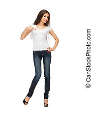 woman in blank white t-shirt - happy woman in blank white...