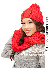 beautiful woman in hat, muffler and mittens - bright picture...