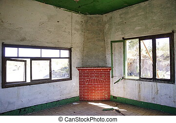 abandoned room - Fireplace in an abandoned and decayed mine...