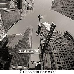 Upward fisheye view of Manhattan Tall Skyscrapers - New York...