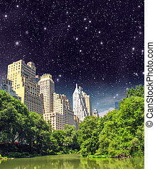 New York City - Manhattan Skyscrapers from Central Park with...
