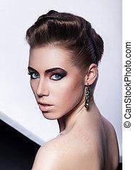 Fashion model pretty girl - festive hairdo