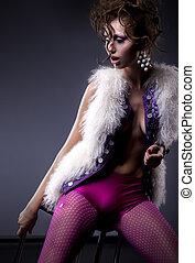 Fashion lovely sexy girl posing - studio shot - Glamor...