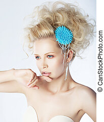 Purity - fashion woman with blue brooch in hairs - Ambition...