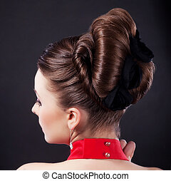 Festive hairstyle and holiday coiffure - Rear view of a...