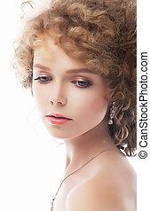 Adorable sexy girl face - closeup studio portrait