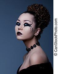 Theatre. Artistic model with creative makeup