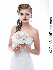 Seductive fiancee young woman in bridal dress posing - Happy...
