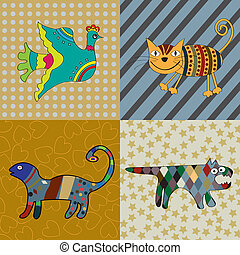 Naive art - Cute animals naive art illustration