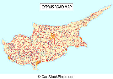 Cyprus road map - Detailed road map of Cyprus Island with...