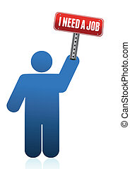 Icon with I need a job sign illustr
