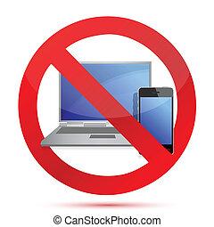 electronics prohibited sign illustr
