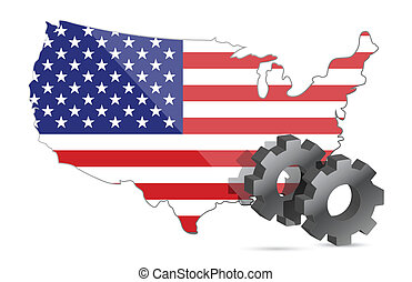 Us map flag and gears illustration
