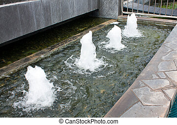 Spring pools. - Pool fountain with a fountain, a point is...