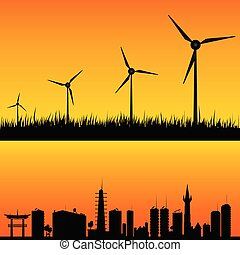 windmills to generate electricity vector