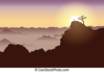 On Top of the World - Silhouette of a guy standing on top of...