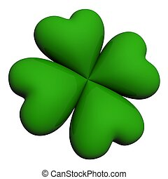 lucky clover leaf - four leaf lucky clover isolated on white...