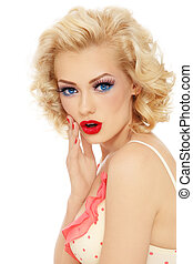 Surprised blonde - Young beautiful stylish retro blond girl...