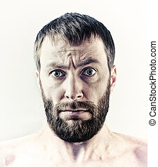 bearded man - bearded wide eyes man portrait