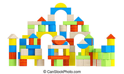 Colourful array of different building blocks - Colourful...