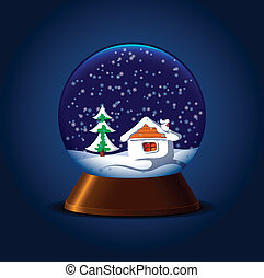 Magic snowball - Magic snow ball with hut and fir