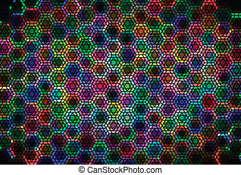Hexagonal ornament - Chaotic colorful hexagon based stained...