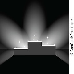 Pedestal with flares on the stage - Lightened pedestal with...