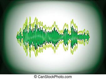 Digital waveform - Noisy and glitchy green digital sound...