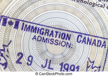 Canada Immigration Stamp closeup on passport