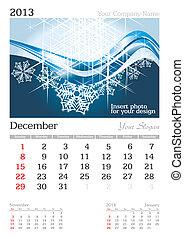 January 2013 A3 calendar - 2013 A3 calendar - vector...