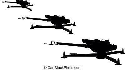 Artillery - D-30 howitzer vector silhouette