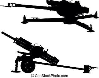 Artillery - Howitzer vector silhouette