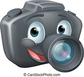 DSLR camera mascot character - Illustration of a cute happy...