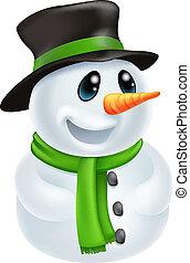 Cartoon Christmas Snowman - Happy cute cartoon Christmas...